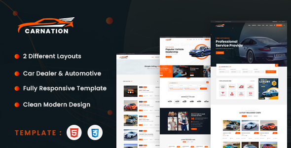 Excellent Carnation - Car Dealership and Listings HTML Template