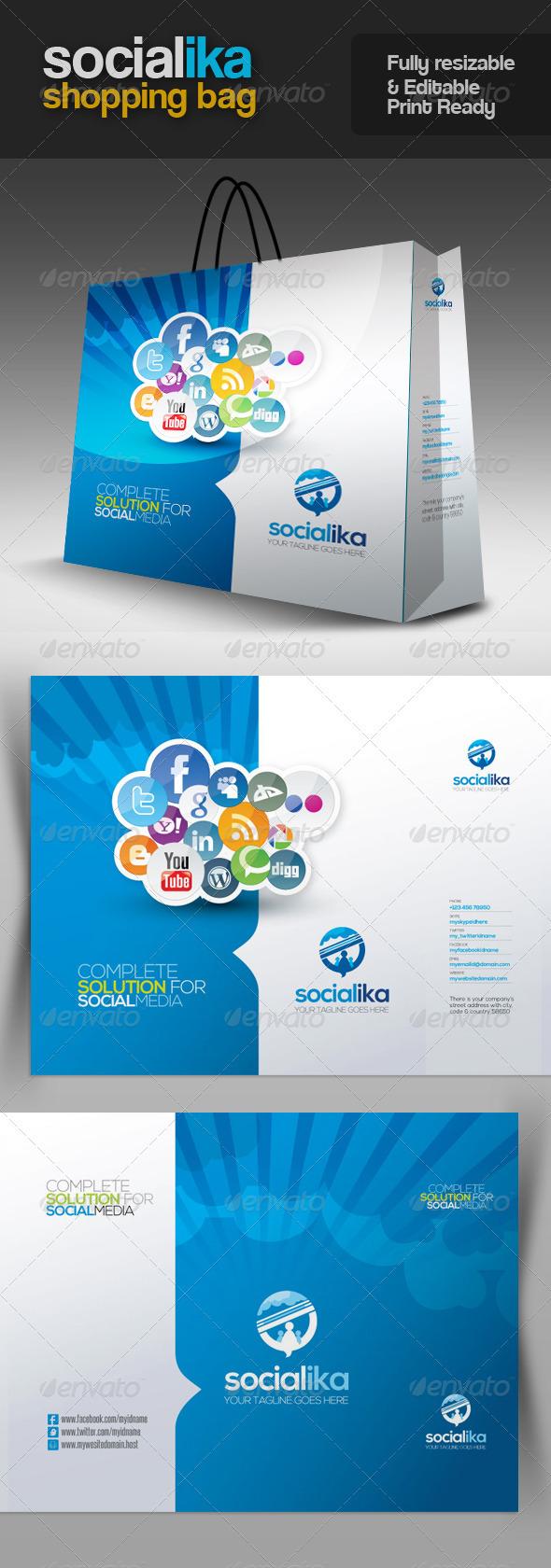 Socialika Social Media Shopping Bag - Packaging Print Templates