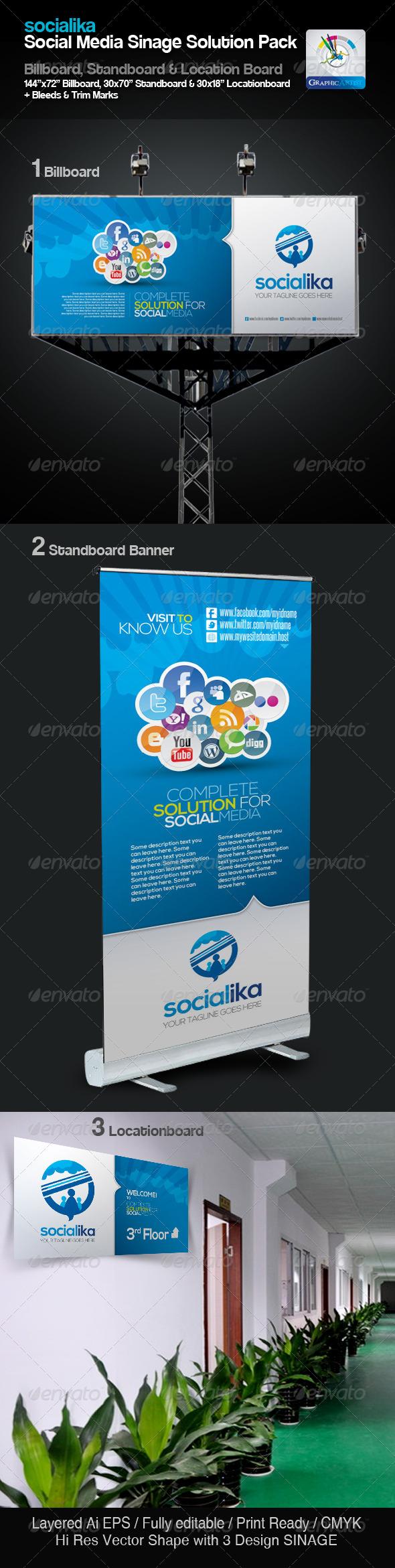 Socialika Social Media Sinage Solution Pack - Signage Print Templates