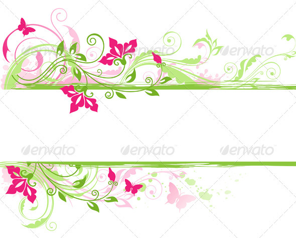Floral Banner with Green Ornament  - Backgrounds Decorative