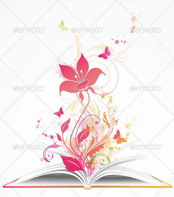 Open Book and  Pink Flower - Backgrounds Decorative