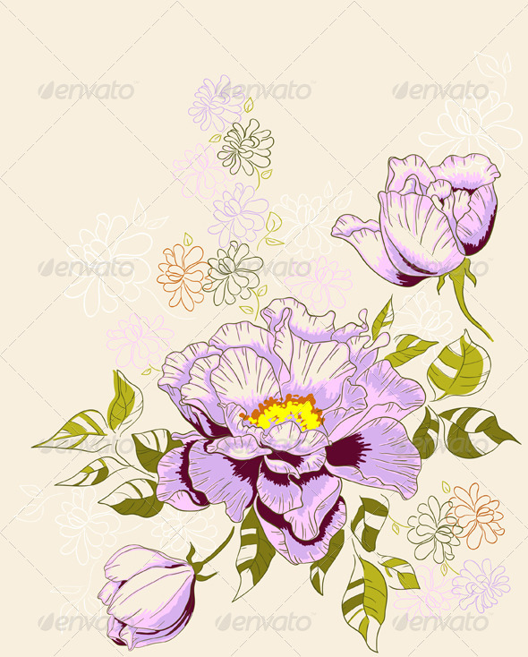 Floral Background with Peony - Flowers & Plants Nature