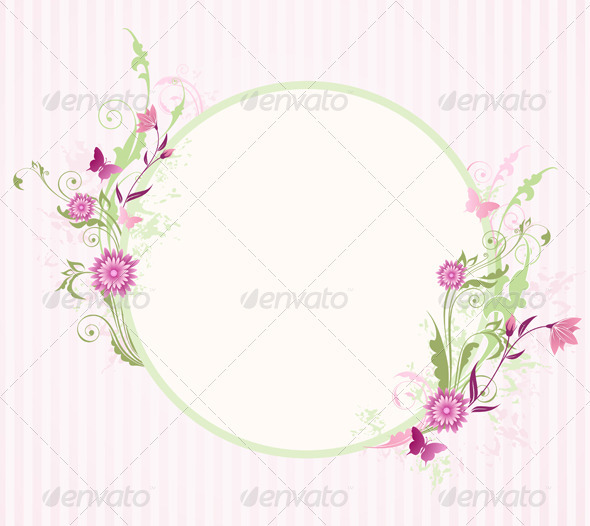Round Banner with Floral Ornament - Backgrounds Decorative