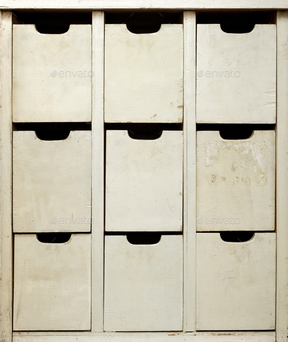 Old wooden cabinet, front view - Stock Photo - Images