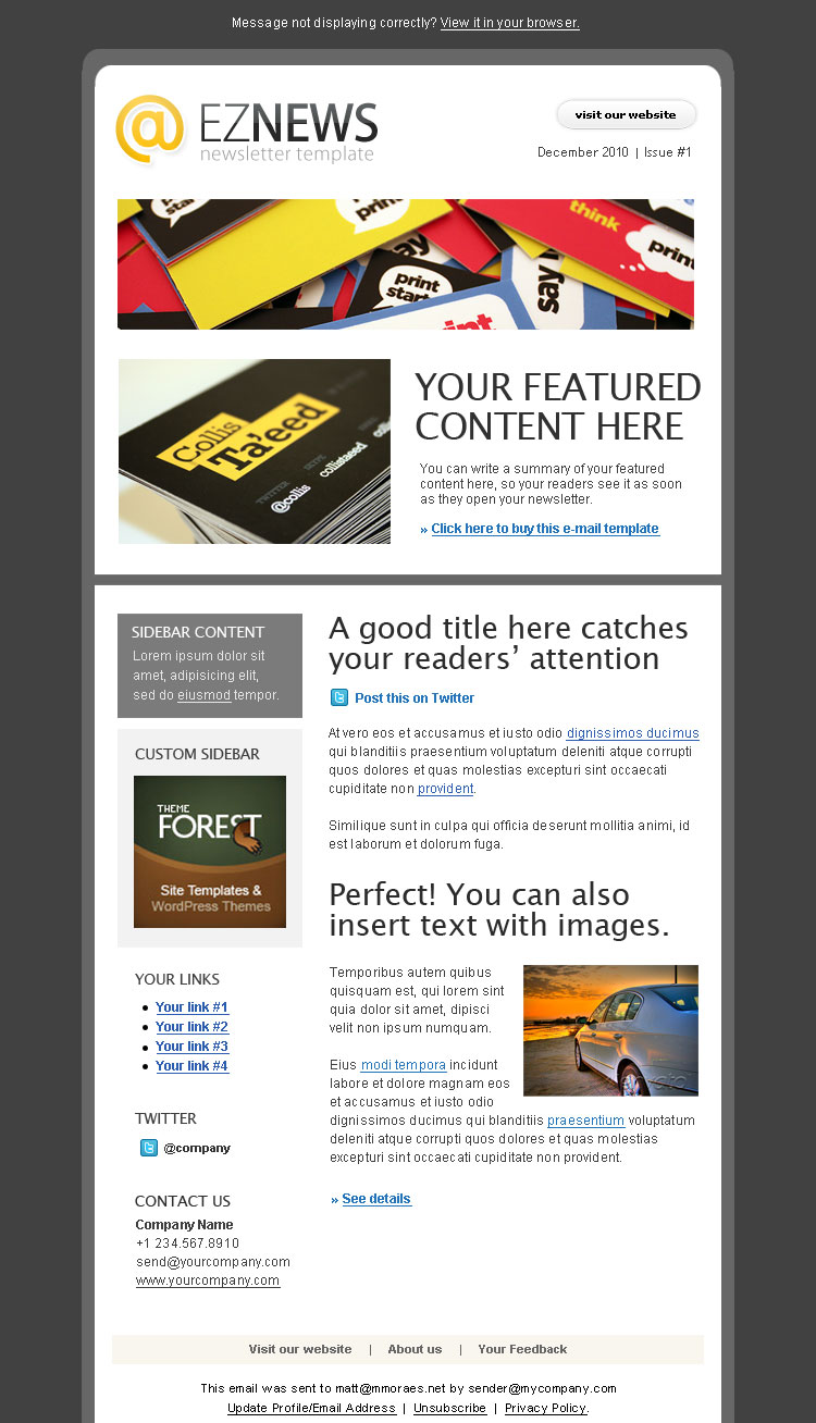 EZ News Newsletter Template By Shoptemplate ThemeForest - E news template