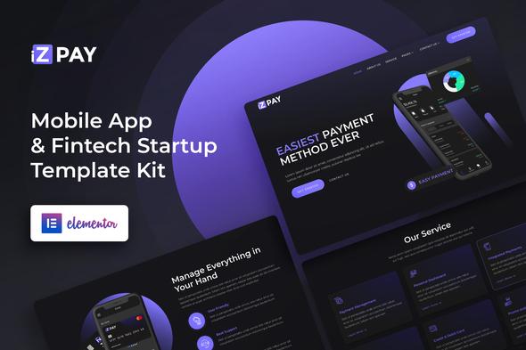 iZPAY - Mobile App & Fintech Startup Elementor Template Kit