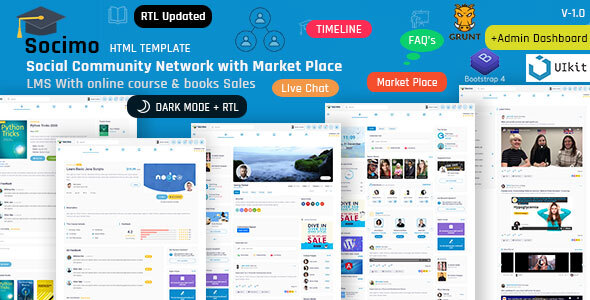 Socimo – Social Community Network with Online Learning Management Html Template