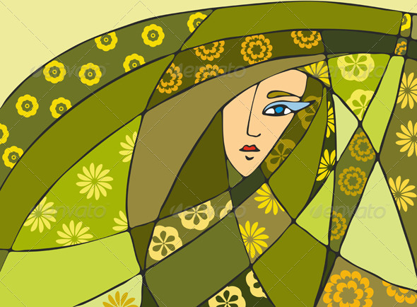 Abstract Girl Face Green - Backgrounds Decorative