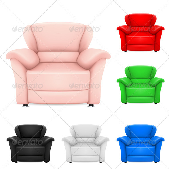 Colored set of stylish chairs - Man-made Objects Objects