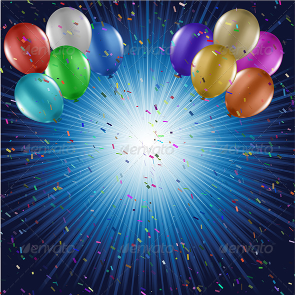 Balloons and confetti background - Backgrounds Decorative