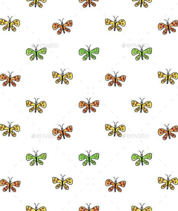 Butterfly Cartoon Drawing Motif  Pattern