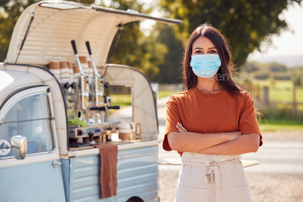 Portrait Of Woman Wearing Face Mask Running Independent Mobile Coffee Shop Standing Next To Van - Stock Photo - Images