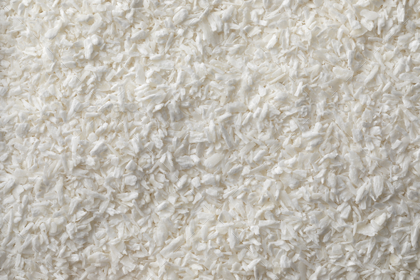 White dried shredded coconut meat full frame close up - Stock Photo - Images