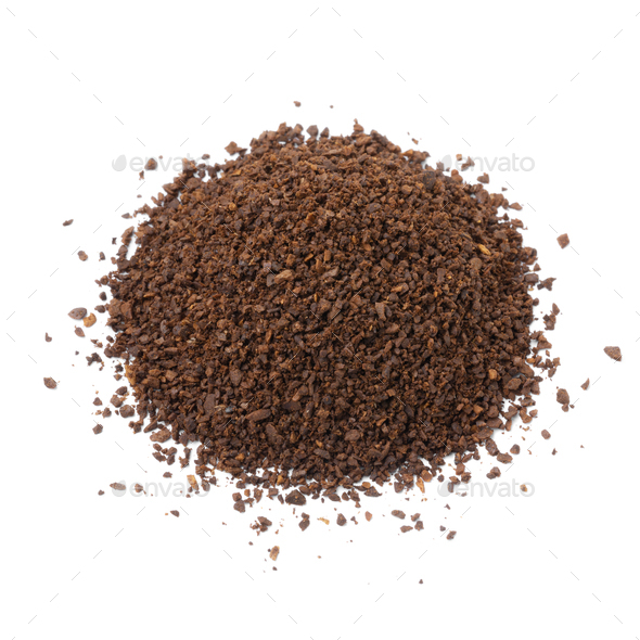Heap of coarse ground roasted coffee isolated on white background - Stock Photo - Images
