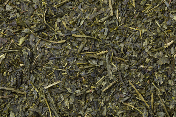 Traditional dried Japanese green tea full frame - Stock Photo - Images