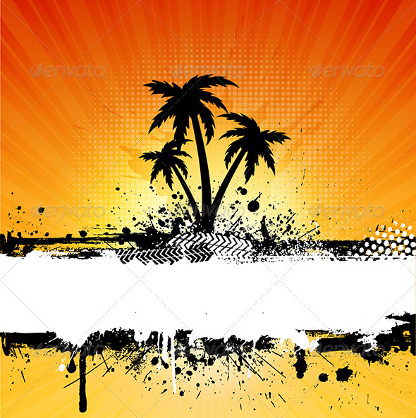 Grunge Palm Trees Background - Landscapes Nature