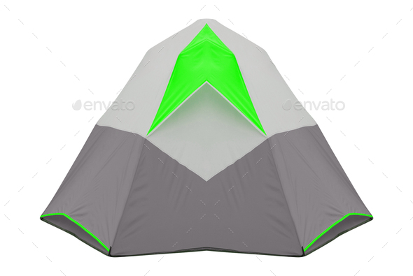 Isolated green tent on white background - Stock Photo - Images