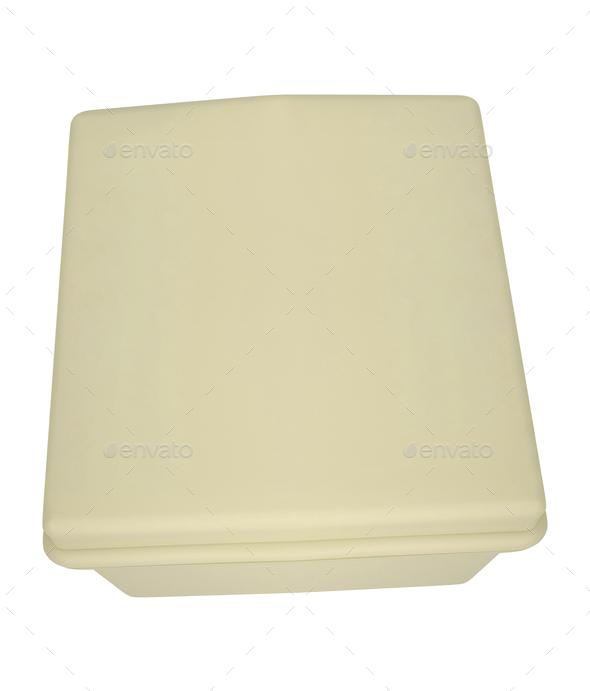 White plastic box isolated on white - Stock Photo - Images