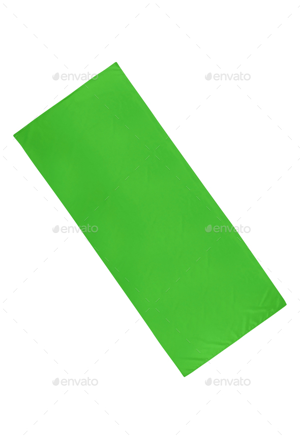 green cloth isolated on white background - Stock Photo - Images