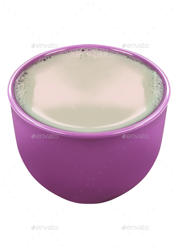 Clay pot with milk isolated - Stock Photo - Images