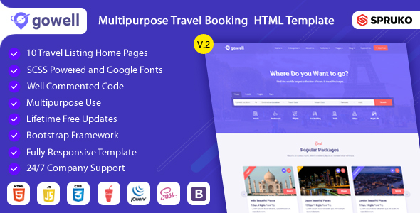Gowell - Travel HTML Template