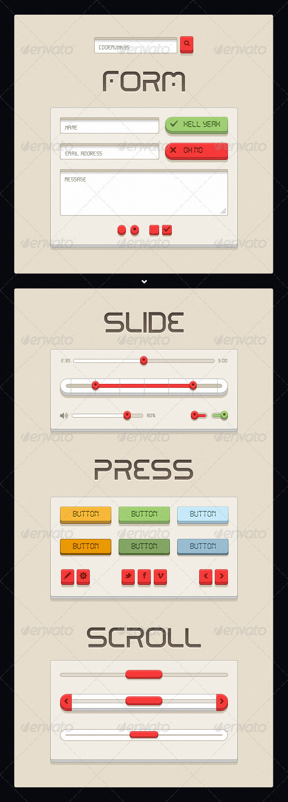 Retro Beige UI Kit - User Interfaces Web Elements