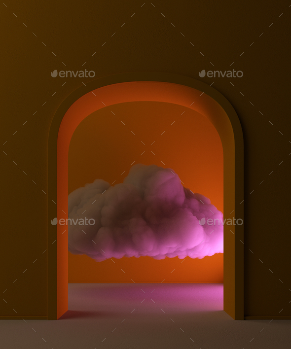 Beautiful cloud inside a room, magical abstract background wallpapers. 3d rendering - Stock Photo - Images