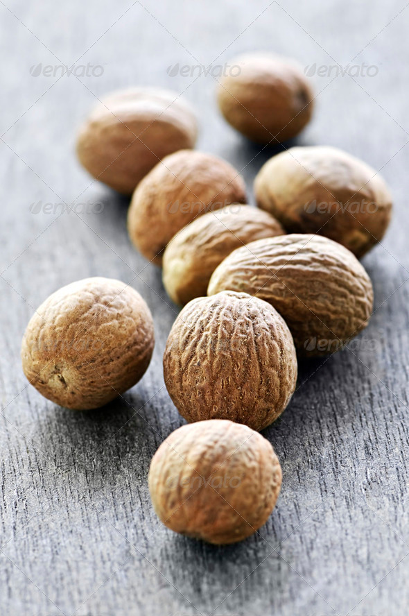 Whole Nutmeg Seeds - Stock Photo - Images