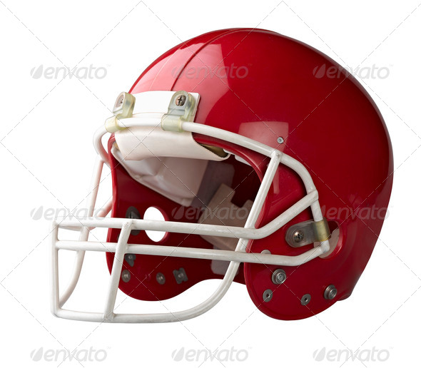 Red American football helmet isolated on a white background with - Stock Photo - Images