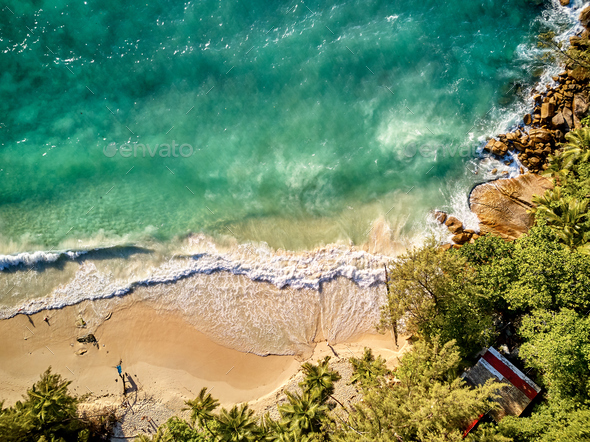 Beach at Seychelles aerial top view - Stock Photo - Images