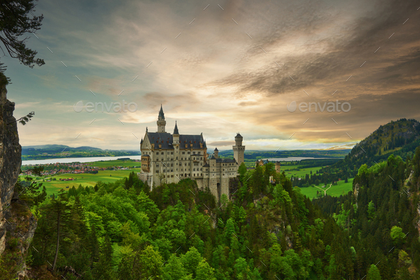 The castle of Neuschwanstein in Germany - Stock Photo - Images