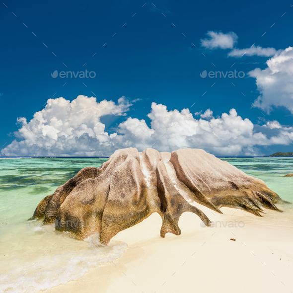 Beautiful beach at Seychelles - Stock Photo - Images