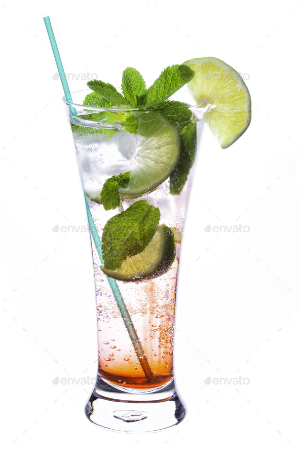 Mojito cocktail on white - Stock Photo - Images