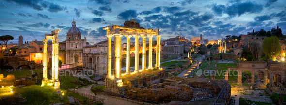 Roman Forum at dusk - Stock Photo - Images