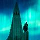 Aurora borealis Northern lights shining over the church in Reykjavik - PhotoDune Item for Sale