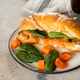 Croissant sandwich with cottage cheese, salmon, spinach. Healthy breakfast. - PhotoDune Item for Sale