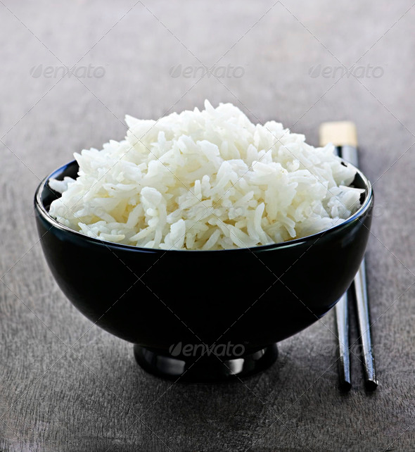 Rice Bowl With Chopsticks - Stock Photo - Images