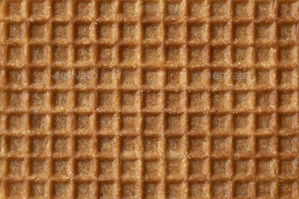 Traditional Dutch syrup waffle close up full frame as background - Stock Photo - Images