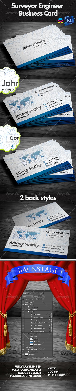 Surveyor Business Cards - Business Cards Print Templates