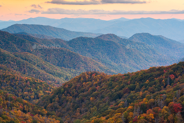 Great Smoky Mountains National Park, Tennessee, USA at the Newfound Pass - Stock Photo - Images