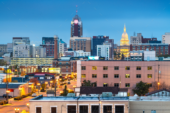 Lansing, Michigan, USA Downtown Skyline - Stock Photo - Images