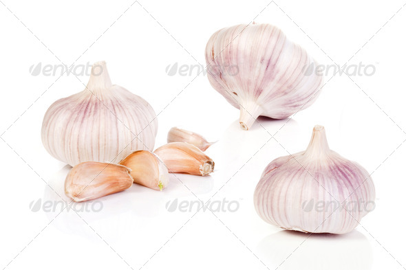 garlic on a white background - Stock Photo - Images