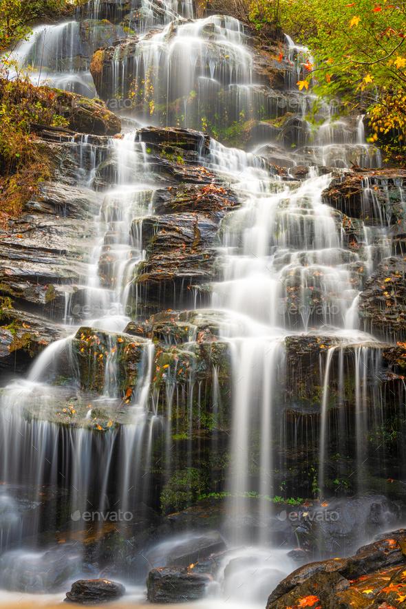 Issaqueena Falls during autumn season in Walhalla, South Carolina - Stock Photo - Images