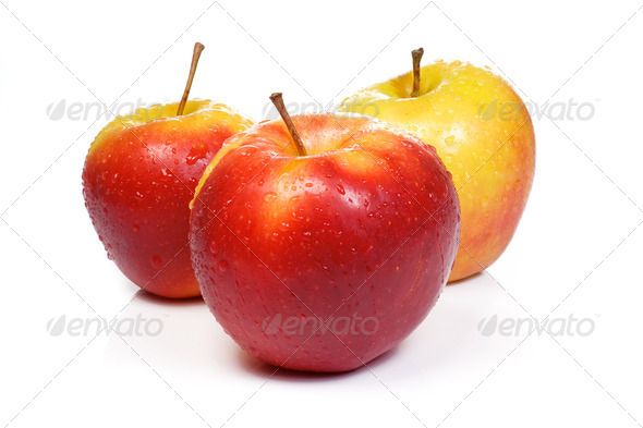 ripe isolated sweet apples - Stock Photo - Images