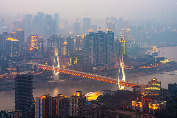 Chongqing, China downtown city skyline - Stock Photo - Images