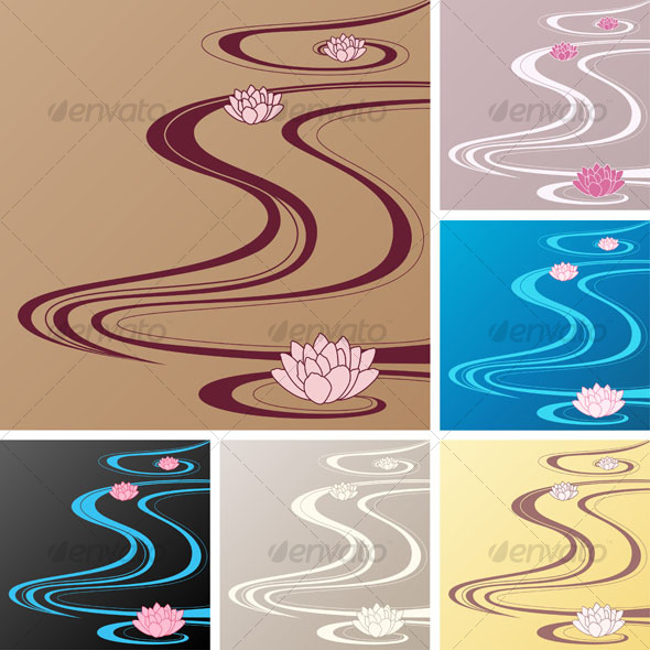 Asian backgrounds with oriental waves and lotuses - Backgrounds Decorative