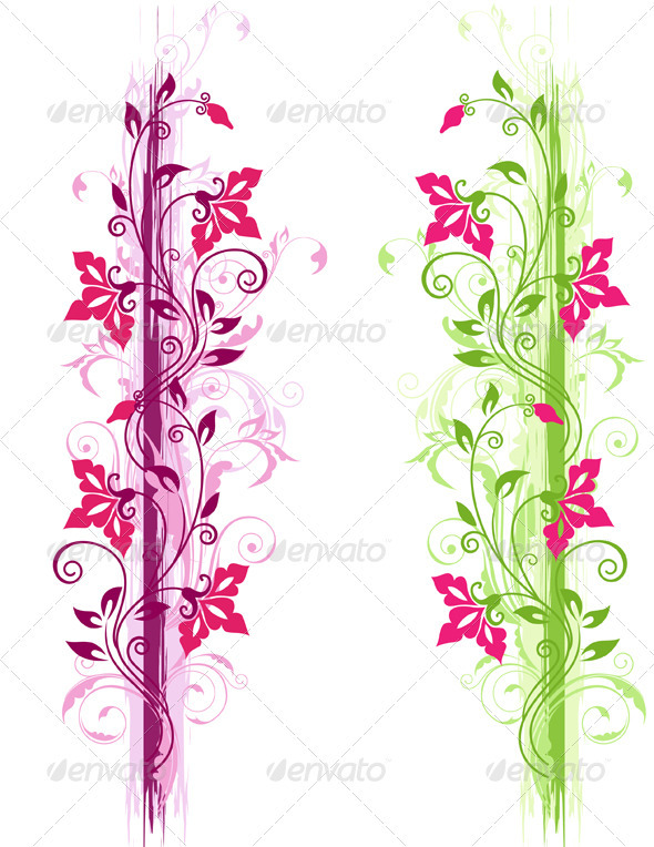 Green and Violet Floral Ornament - Flourishes / Swirls Decorative