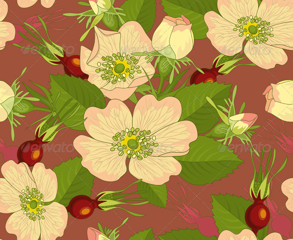 Seamless Background Wild Rose Rose-hip - Backgrounds Decorative
