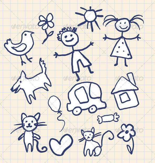 Children's Scribbles Notebook - Decorative Vectors