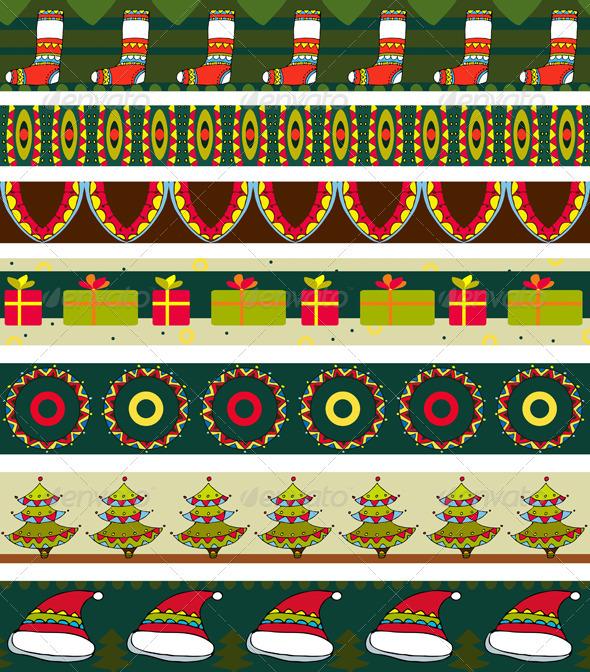 Christmas Strip Pattern Set - Patterns Decorative